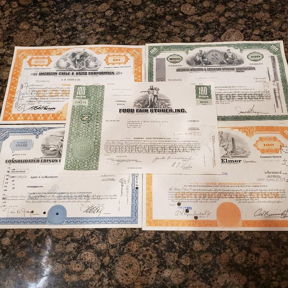 Lot of (5) Vintage Stock Certificate